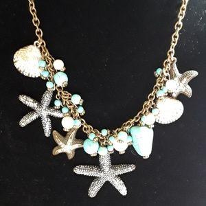Gemstone Starfish Necklace & Earrings